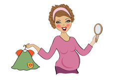 Happy pregnant woman at shopping, isolated on white background Royalty Free Stock Images