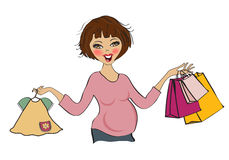 Happy pregnant woman at shopping, isolated on white background Stock Image