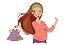 Happy pregnant woman at shopping, isolated on white background Stock Photo