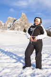 Happy Pregnant Woman Snow Mountain Royalty Free Stock Photo