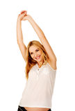 Happy pregnant woman stretching arms Royalty Free Stock Images