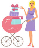 Happy pregnant woman with trolley. Happy pregnant woman wiht baby trolley full of gifts Royalty Free Stock Photography