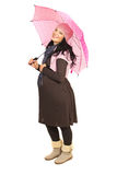 Happy pregnant woman with umbrella Royalty Free Stock Photo