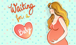 Happy pregnant woman waiting for a baby Royalty Free Stock Photo