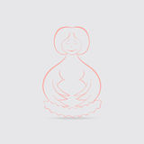 Happy Pregnant Women Concept. Pregnant Women with Wings Meditating Happily on the Nest. Concept of Motherhood. Vector EPS 10 Royalty Free Stock Photography