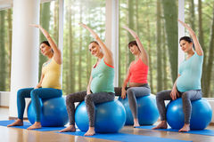 Happy pregnant women exercising on fitball in gym Stock Image
