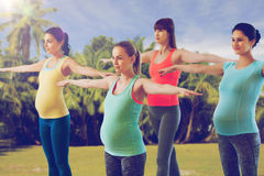 Happy pregnant women exercising in gym Royalty Free Stock Photography