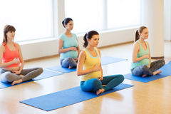 Happy pregnant women exercising yoga in gym Royalty Free Stock Photo