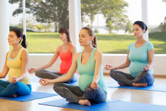 Happy pregnant women exercising yoga in gym Stock Photography