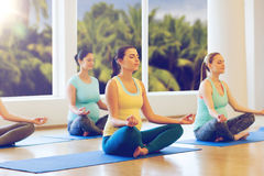 Happy pregnant women exercising yoga in gym Stock Image
