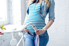 Happy pregnant young woman waiting for a child Stock Image