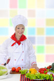Happy  preparing a healthy salad. Royalty Free Stock Photos