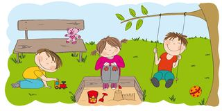 Happy preschool children playing outside in the park / garden. One boy is playing with choo choo train, little girl is sitting on the sandpit building vector illustration