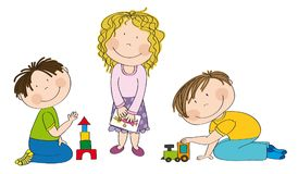 Happy preschool children playing together. Happy preschool children. Little boy is kneeling on the floor building bricks, cute girl with curly hair is standing vector illustration