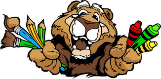 Happy Preschool Cougar Mascot Cartoon  Image Royalty Free Stock Photography