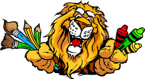Happy Preschool Lion Mascot Cartoon Image Royalty Free Stock Image