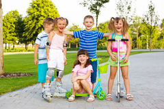 Happy preschool team stock photography