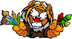 Happy Preschool Tiger Mascot Cartoon Image Royalty Free Stock Photo