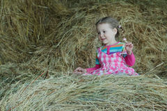 Happy preschooler girl wearing striped and plaid playing in country farm hayloft among dried loose grass hay Stock Images