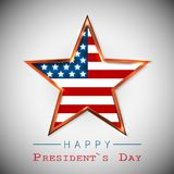Happy President`s Day greeting card with star of USA.  Stock Illustration