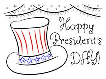 Happy president `s day sketch greeting card isolated. On white Stock Photos
