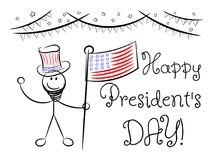 Happy president `s day sketch greeting card isolated. On white Royalty Free Stock Photo