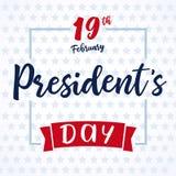 Lettering Presidents day greeting card light stars. Happy President`s Day 19th february for web banner special offer vector illustration stock illustration