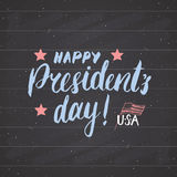 Happy President`s Day Vintage USA greeting card, United States of America celebration. Hand lettering, american holiday grunge tex Royalty Free Stock Images