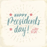 Happy President`s Day Vintage USA greeting card, United States of America celebration. Hand lettering, american holiday grunge tex Royalty Free Stock Image