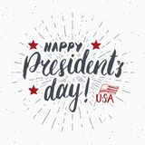 Happy President`s Day Vintage USA greeting card, United States of America celebration. Hand lettering, american holiday grunge tex Royalty Free Stock Photo
