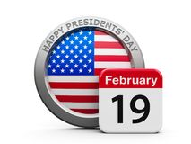 Happy Presidents' Day. Emblem of USA with calendar button - The Nineteenth of February - represents Presidents' Day 2018 in USA, three-dimensional stock illustration