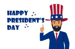 Happy Presidents Day background with man in hat pointing up for President`s day and Independence Day in USA stock illustration