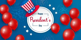 Happy Presidents Day background text lettering for President`s day in USA. Vector illustration royalty free illustration