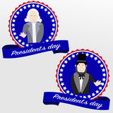 Happy Presidents day badges. George Washington and Abraham Lincoln Stock Image