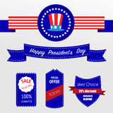 Happy Presidents day badges. And sale banners royalty free illustration