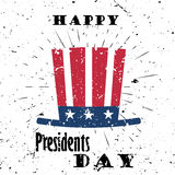 Happy Presidents Day Black Lettering Typography with burst on a Old Textured Background. Vector illustration for cards Royalty Free Stock Images
