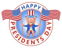 Happy presidents day. Cartoon Uncle Sam holding American flags. Vector illustration. Elements is grouped. No gradient, no transparent objects vector illustration