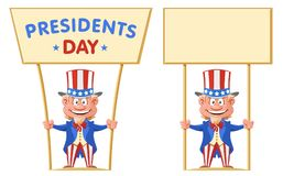 Happy presidents day. Funny cartoon Uncle Sam holds banner. Vector illustration. Isolated on white. Elements is grouped. No gradient, no transparent objects stock illustration