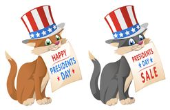 Happy presidents day. Funny cat in in the patriotic hat announce. A presidents day sale. Cartoon styled vector illustration. Isolated on white. Elements is Stock Photo