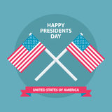 Happy Presidents Day greating card with American flags. Royalty Free Stock Photos
