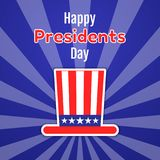 Happy Presidents Day greeting card, invitation or banner. American gentleman hat with stripes and stars. Flat style sticker. Vecto. R illustration Royalty Free Stock Photo