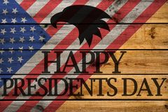 Happy Presidents Day greeting card on wooden background stock photos