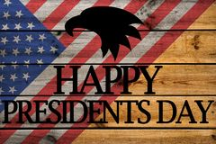 Happy Presidents Day greeting card on wooden background stock illustration