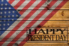 Happy Presidents Day greeting card on wooden background. royalty free illustration