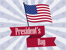 Happy Presidents Day. Retro banner with american flag and text. Vector. Illustration Stock Photos