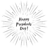 Happy Presidents Day text with sun rays linear background. Vector card design with custom calligraphy Royalty Free Stock Photography