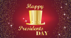 Happy Presidents Day Typography with tall hat and red with gold background. Vector illustration for cards, banners Royalty Free Stock Image