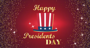 Happy Presidents Day Typography with tall hat and red with gold background. Vector illustration for cards, banners Stock Photo