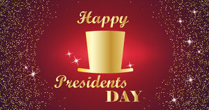 Happy Presidents Day Typography with tall hat and red with gold background. Vector illustration for cards, banners Stock Image