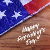 Happy Presidents Day Typography with USA Flag Scene. Photo Illus. Tration Royalty Free Stock Photos